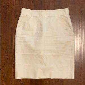 Cream J. Crew Pencil Skirt